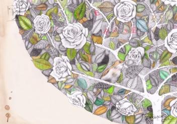 white rose tree con macchie web